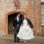 Bride &amp; Groom walking Bruisyard